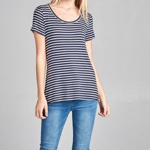 Active USA Navy/White Striped Short Sleeve Tee